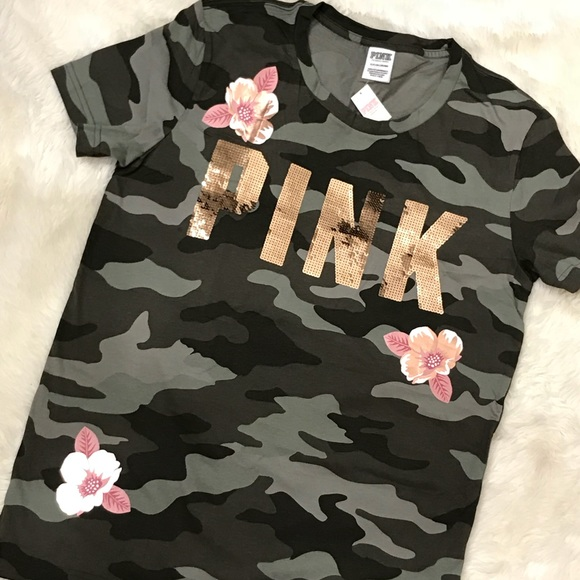 Victoria Secret PINK Campus Tie Dye Bright Pink Logo Open Back Tee L XL NWT ❤️
